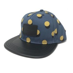 Coach F24298 Men's Flat Brim Hat Mustard Multi Dot